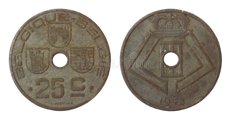 Antike seltene Münze von Belgien stockfotografie