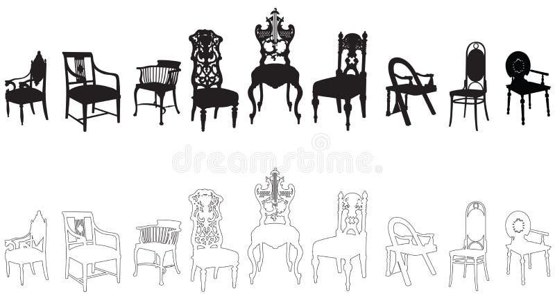 Antike Stühle vektor abbildung