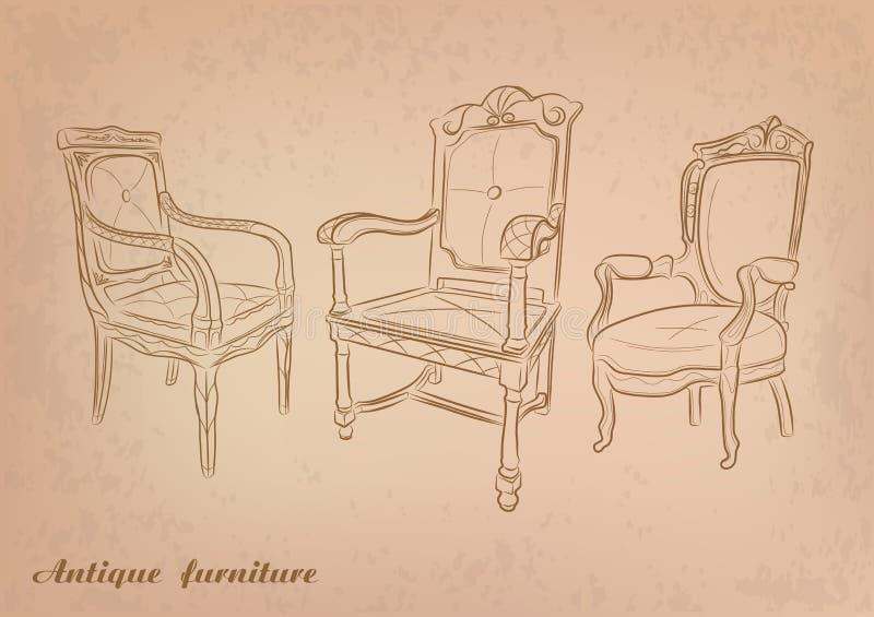 Antike Stühle stock abbildung