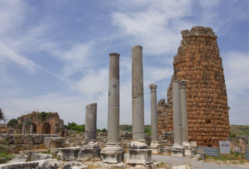 Antike Stadt von Perge, Antalya lizenzfreie stockfotos