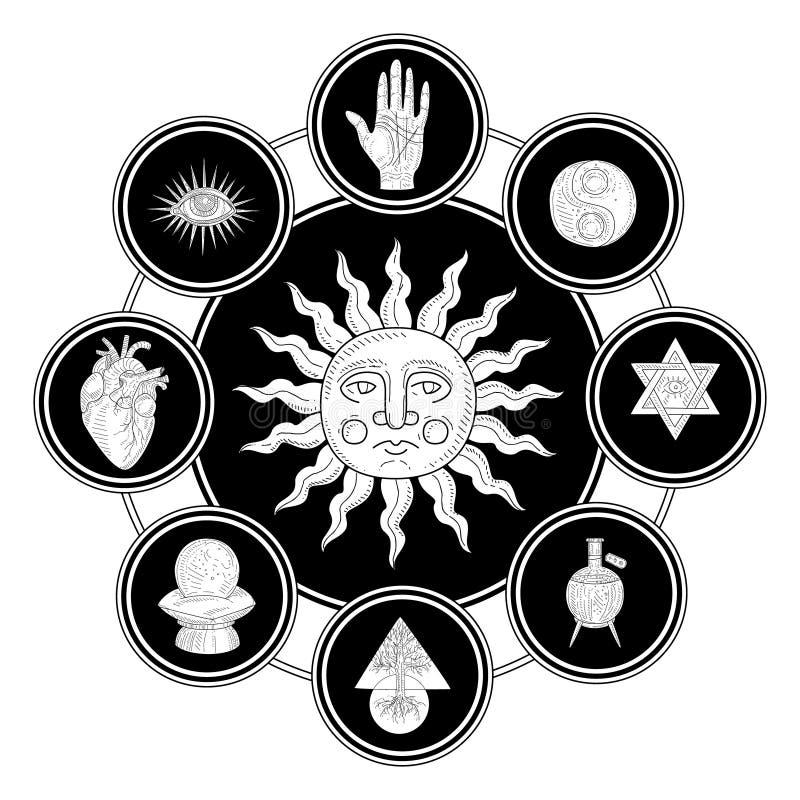 Antike Sun umgeben durch geheime, philosophische, geheimnisvolle, mystische Symbol-einfarbige Handgezogene Vektor-Illustration stock abbildung