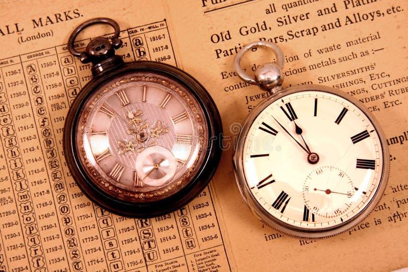 Antike Taschenuhren stockbild
