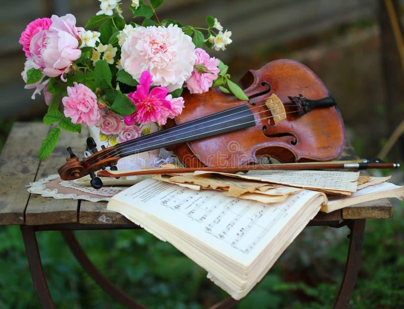 Antike Violine, Anmerkungen und Frühlingsblumenstrauß lizenzfreies stockfoto