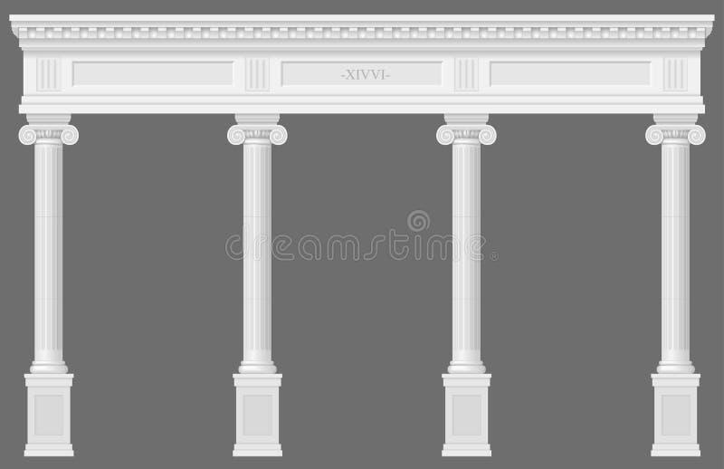 Antike weiße Kolonnade stock abbildung