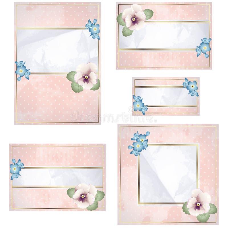 Antike weiße und rosafarbene Hochzeitsfahne mit Blumen stock abbildung