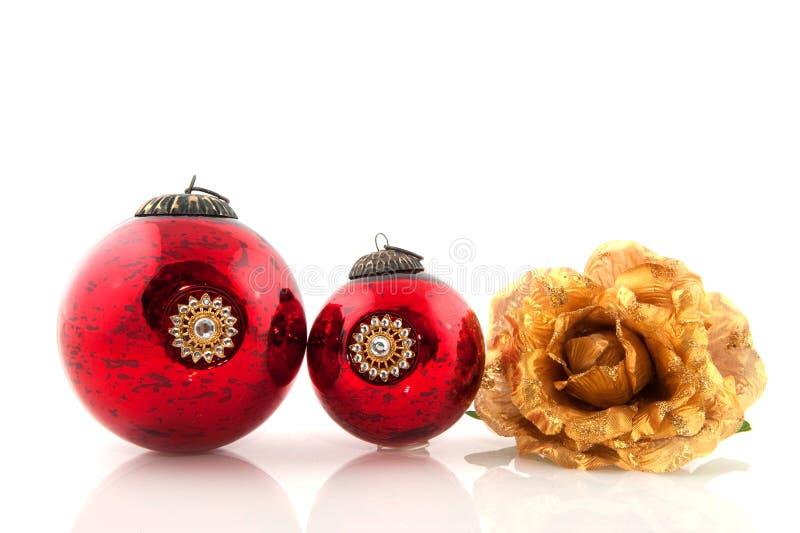 Antike Weihnachtskugeln stockbild