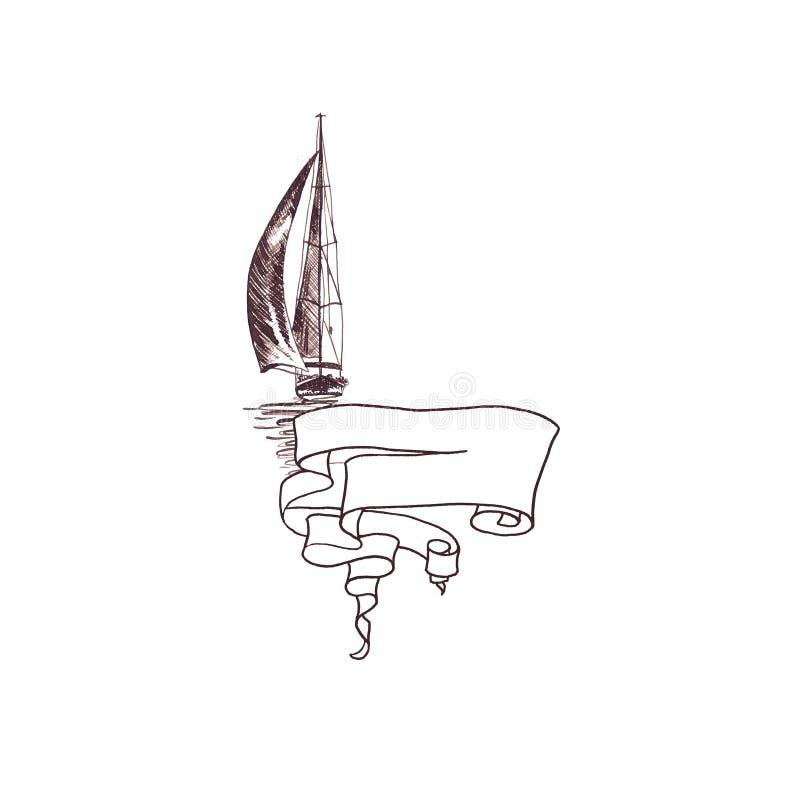 Antike Weinlese der Schiffssegeljacht mit Bandrahmen wirbelte braune Tintenhandzeichnung stock abbildung