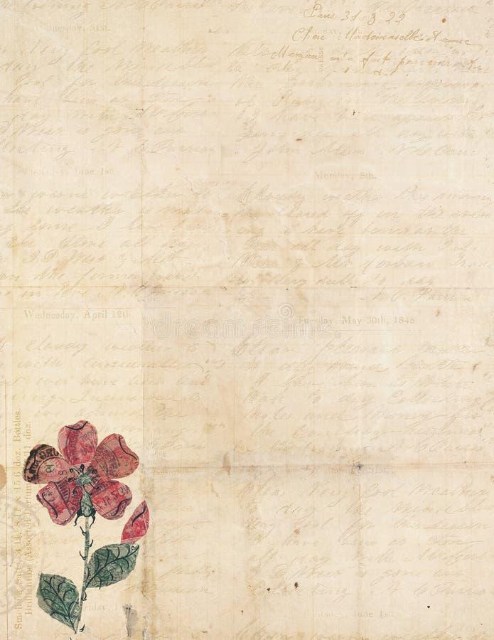 Antike Weinlese gefaltetes strukturiertes Papier mit Blume stock abbildung