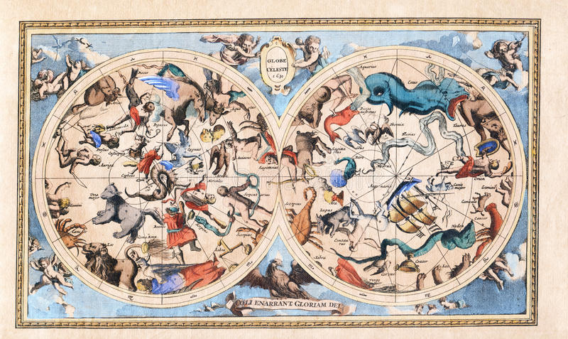 Antike Weinlese-Konstellation Celestial Double Hemisphere lizenzfreies stockbild