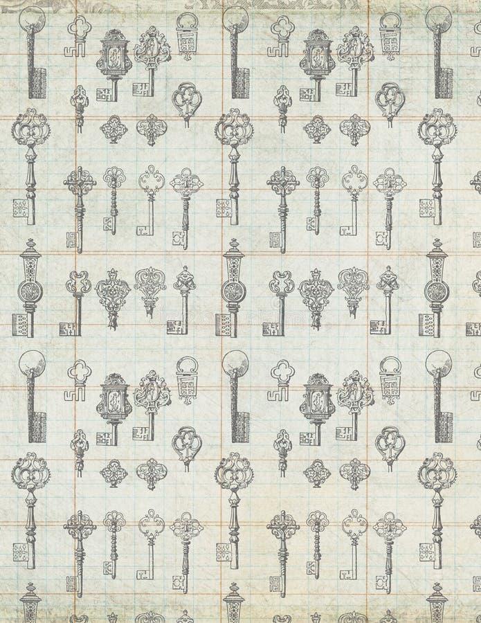 Antike Weinlese-Tasten auf Hauptbuchpapierhintergrund stockbilder