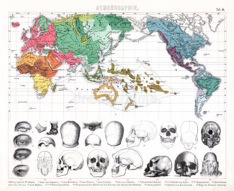 Antike Weltkarte 1874, die ethnische Vielfalt zeigt lizenzfreie abbildung