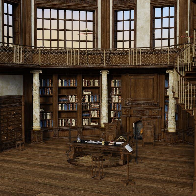 Antiken-Bibliothek der Wiedergabe-3D lizenzfreie abbildung