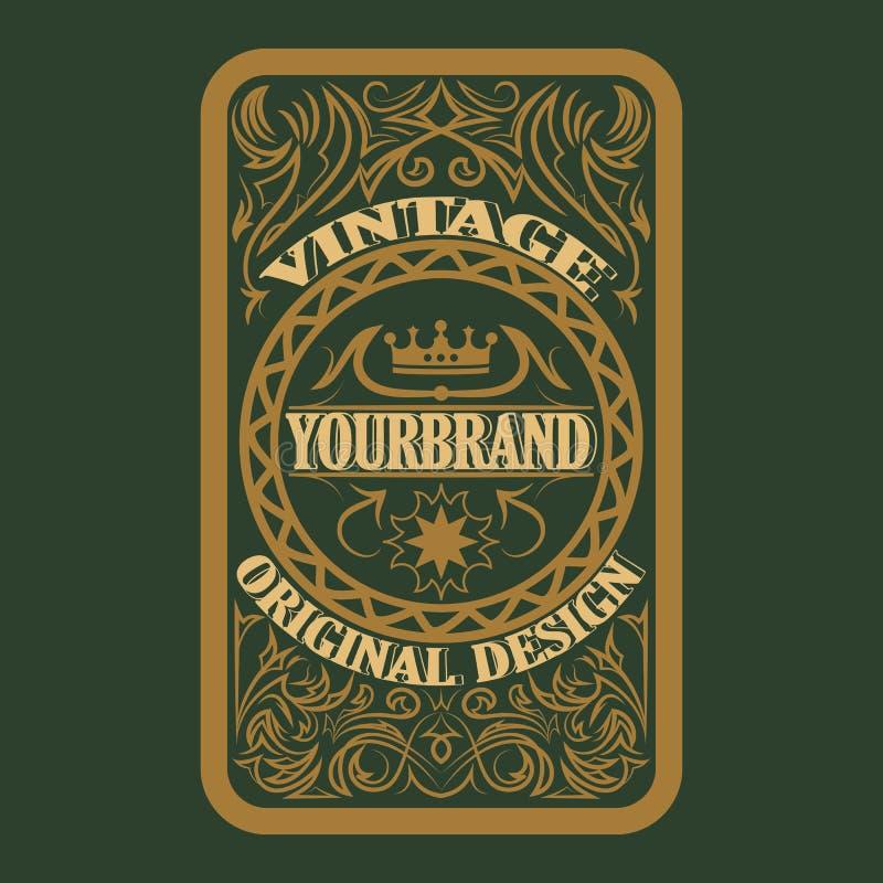 Antiker Aufkleber, Weinleserahmendesign, Retro- Logo lizenzfreie abbildung