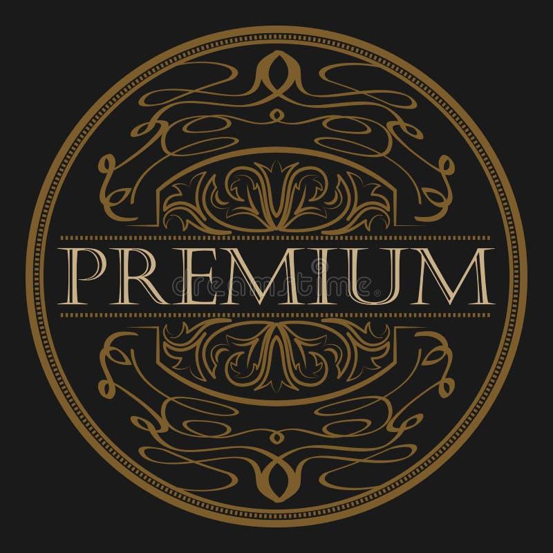 Antiker Aufkleber, Weinleserahmendesign, Retro- Logo vektor abbildung