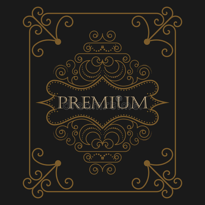 Antiker Aufkleber, Weinleserahmendesign, Retro- Logo stock abbildung