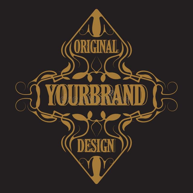 Antiker Aufkleber, Weinleserahmendesign, Typografie, Retro- Logoschablone, stock abbildung