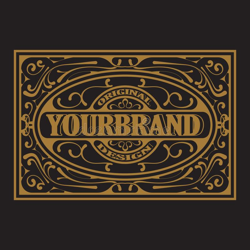 Antiker Aufkleber, Weinleserahmendesign, Typografie, Retro- Logoschablone stock abbildung