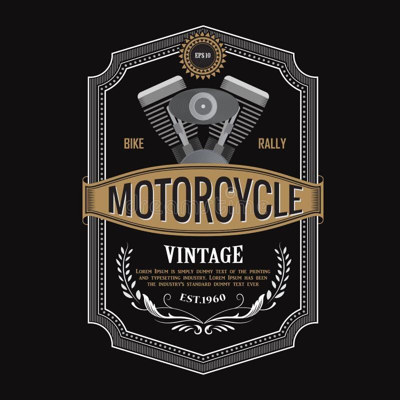 Antiker Aufkleberdesign Motorradmaschinenfahnen-Typografievektor stock abbildung