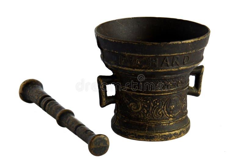 Antiker Bronzemörser stockfotos