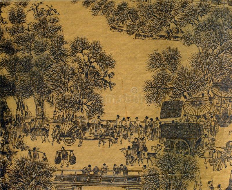 Antiker chinesischer Silk Anstrich stock abbildung