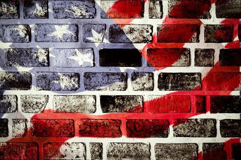 Antiker fahnenschwenkender Musterhintergrund Amerikas im roten blauen Weiß lizenzfreies stockbild
