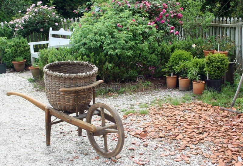 Antiker Gartenwarenkorb in Kolonial-Williamsburg Virginia stockfotos