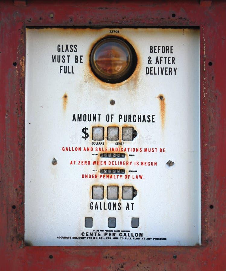 Antiker Gas-Pumpen-Abschluss oben stockbilder