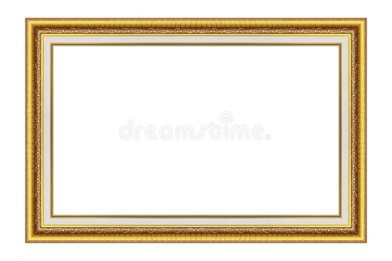 Antiker Goldbilderrahmen getrennt auf Weiß lizenzfreie stockfotos