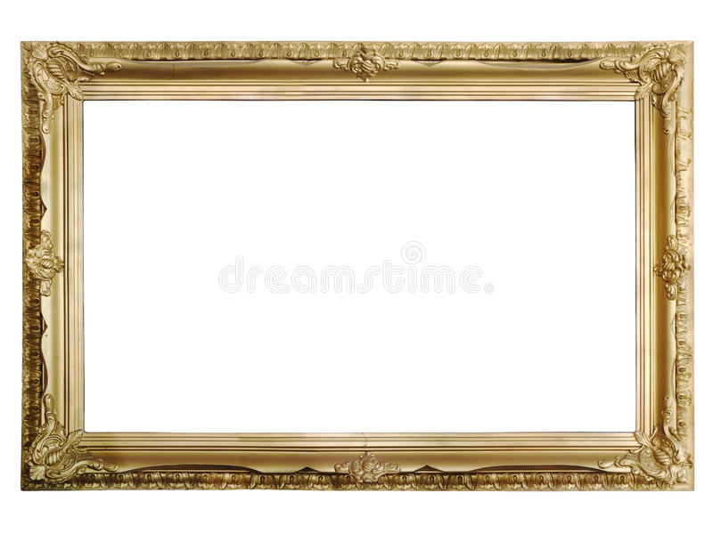 Antiker goldener Bilderrahmen stockfotos