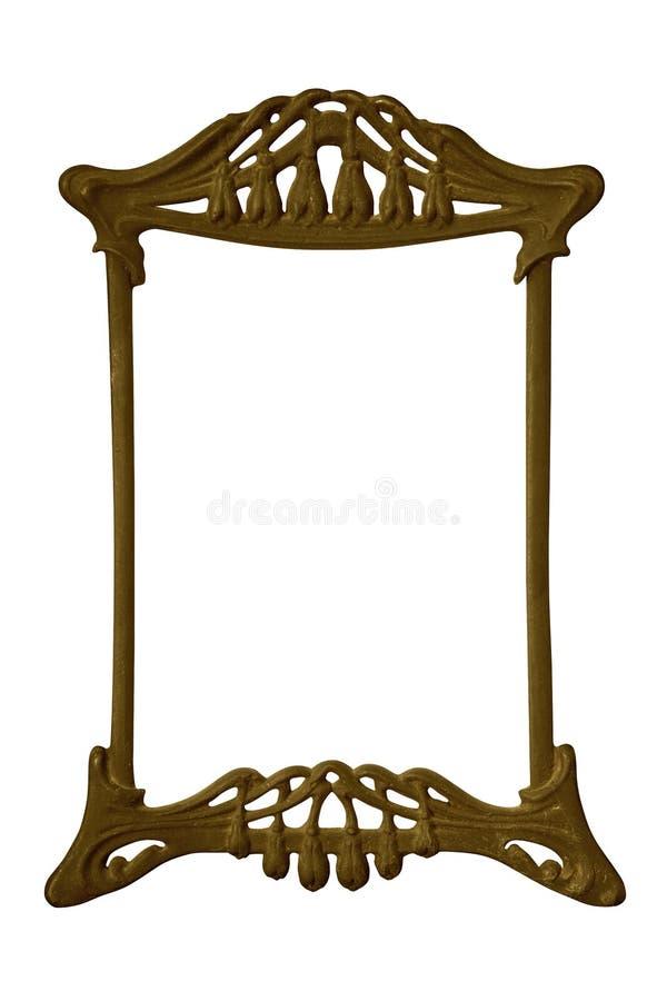 Antiker goldener Rahmen lokalisiert auf weißem Hintergrund mit Beschneidungspfad Europäische Kunst lizenzfreie stockfotos