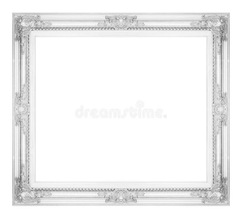 antiker grauer Rahmen lokalisiert auf weißem Hintergrund, Beschneidungspfad lizenzfreie stockfotos