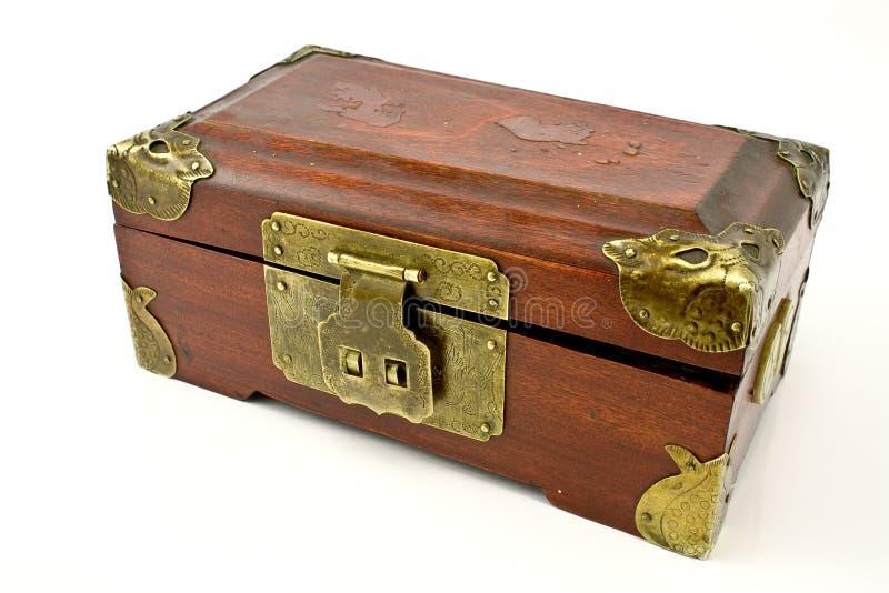 Antiker hölzerner Kasten stockbild