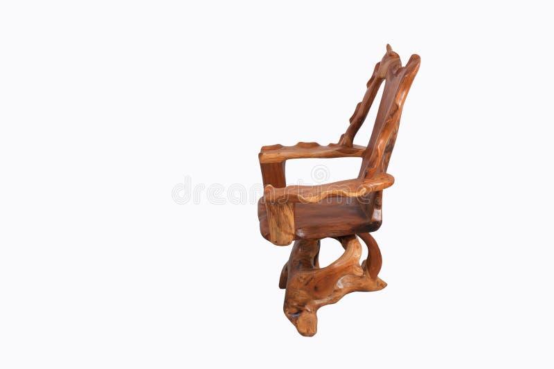 Antiker Holzstuhl mit lokalisiert auf weißem Hintergrund lizenzfreie stockfotografie