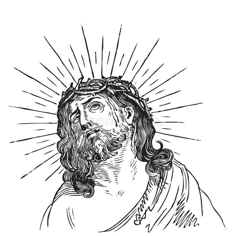 Antiker Jesus Christusstich (Vektor) vektor abbildung