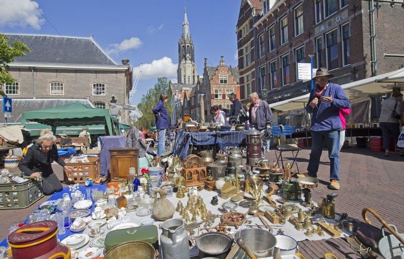 Antiker Markt in Delft lizenzfreies stockfoto