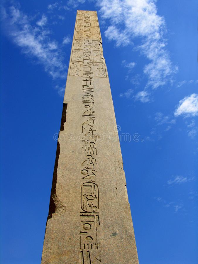 Ancient obelisk with hieroglyphics in Egypt stock photography