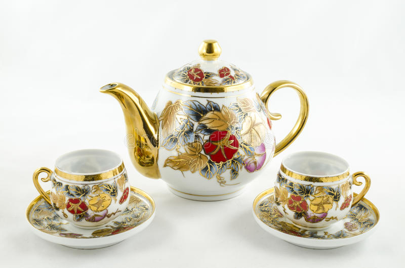 Antiker Porzellantee- und -kaffeesatz lizenzfreie stockfotos