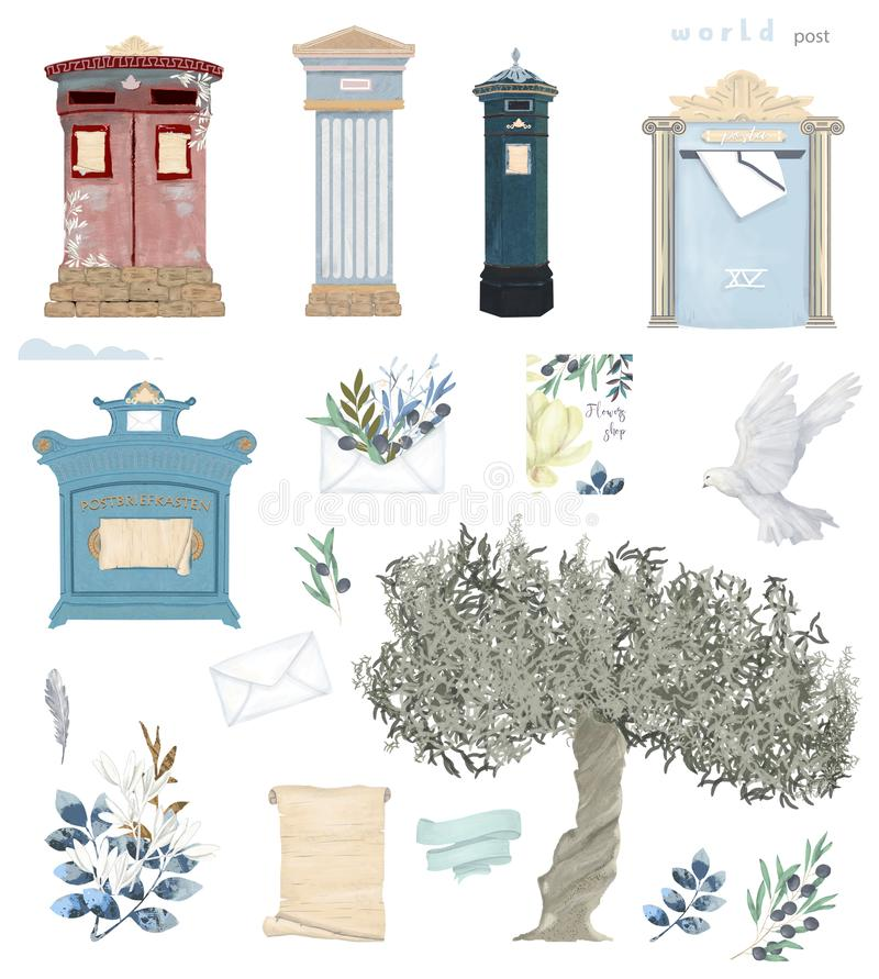Antiker Postens Satz Großbritannien, England, Deutschland der Taube und Olivenbaum Briefkastenaquarellvogelfliegen-Friedenstaube  stock abbildung