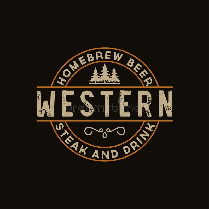 Antiker Rahmengrenzaufkleber, der Retro- Land-Emblem-Typografie für Westlogo design-Inspiration der Bar-/Restaurant graviert elem vektor abbildung