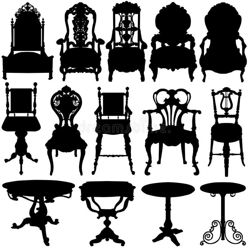 Antiker Stuhl- und Tabellenvektor lizenzfreie abbildung