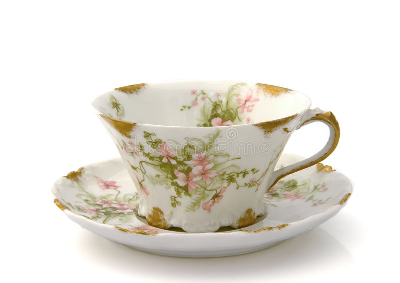 Antiker Teacup und Saucer stockfotos