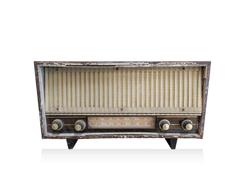 Antiker Transistor der Vorderansicht auf weißem Hintergrund, Technologiehintergrund, Kopienraum stockbilder