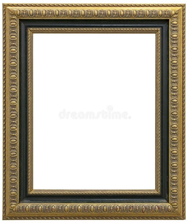 Antiker VergoldungsBilderrahmen lokalisiert auf weißem Hintergrund und Beschneidungspfad stockfotografie