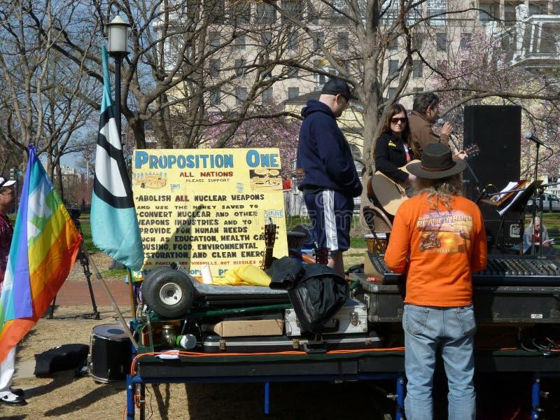 Antikernprotest im Lafayette-Park lizenzfreie stockbilder