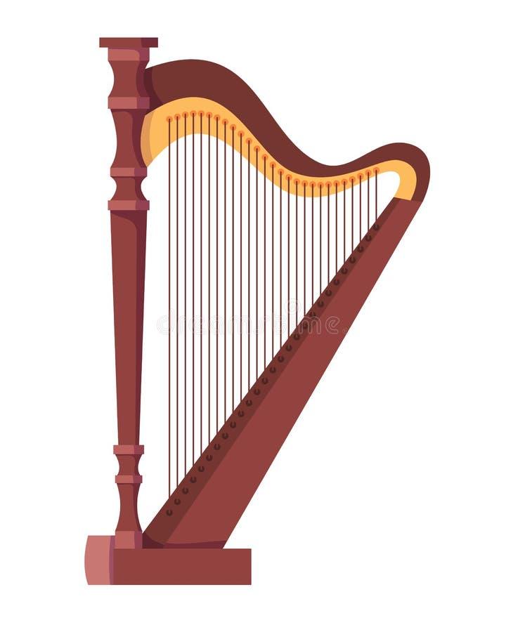 Antikes, altes aufgereihtes Musikinstrument ist klassische hölzerne Harfe vektor abbildung