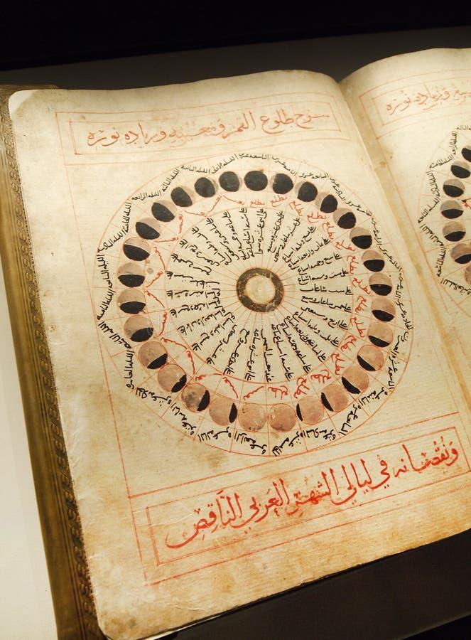 Antikes arabisches Buch auf Astronomie stockbilder