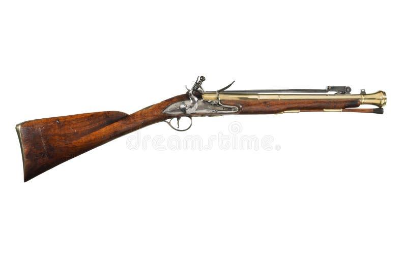 Antikes Donnerbüchsegewehrgewehr auf Postkutsche stockbild