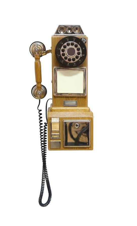 Antikes hölzernes Telefon getrennt auf Weiß lizenzfreie stockfotos