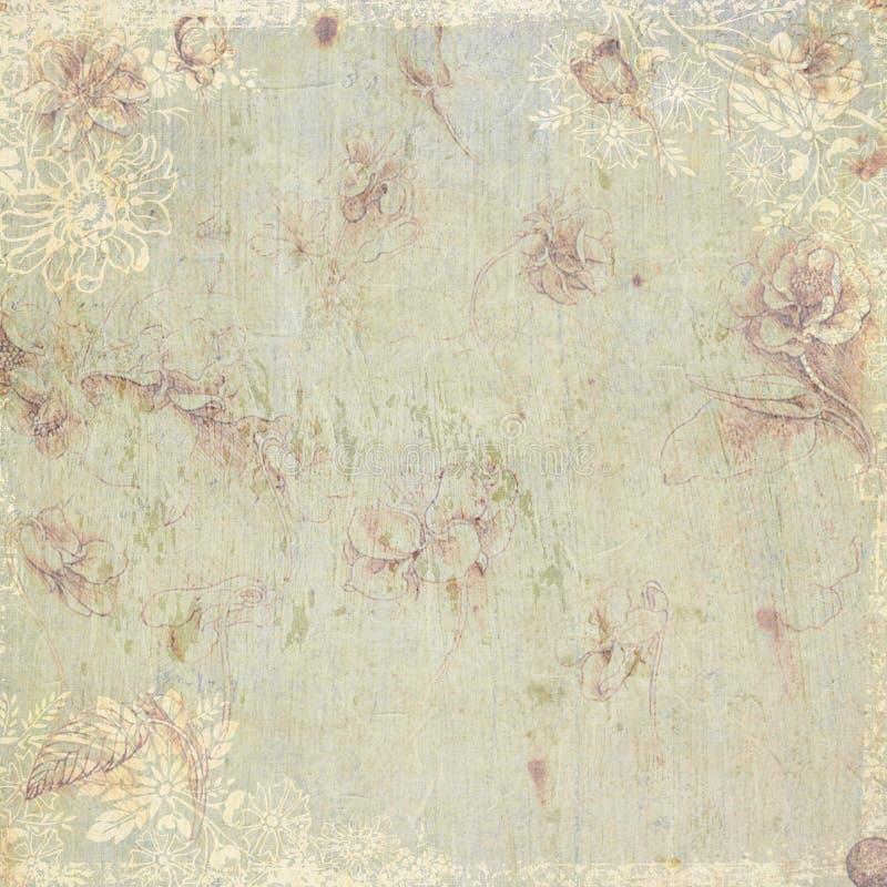 Antikes Hintergrundmit blumenthema der Weinlese lizenzfreie abbildung