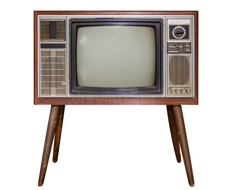 Antikes Holzkistefernsehen lokalisiert auf Wei? lizenzfreies stockfoto